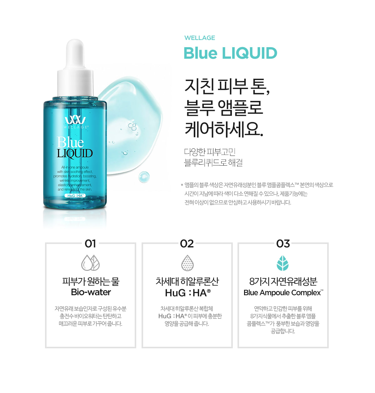 Wellage Real Hyaluronic Blue SOLUTION  透明質酸保濕藍色護膚安瓶